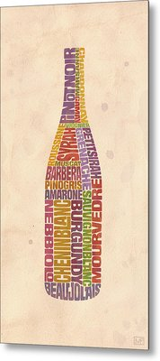 Burgundy Wine Word Bottle Metal Print by Mitch Frey