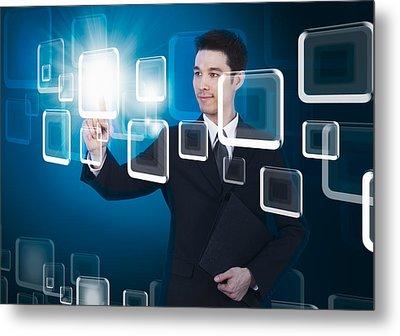Businessman Pressing Touchscreen Metal Print by Setsiri Silapasuwanchai