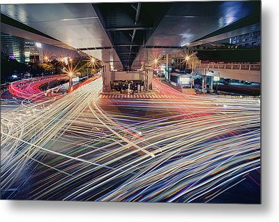 Busy Light Trail In City At Night Metal Print by Yiu Yu Hoi