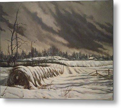 Butler Farm In Winter Metal Print by James Guentner