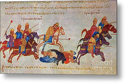 Byzantines Cavalrymen Pursuing The Rus Metal Print by Photo Researchers