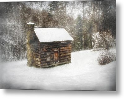 Cabin In The Fog Metal Print by Christine Annas