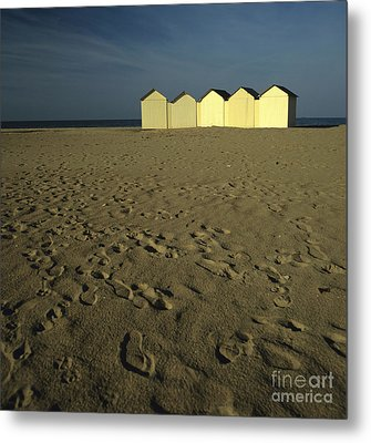 Cabins On A Beach In Normandy Metal Print by Bernard Jaubert