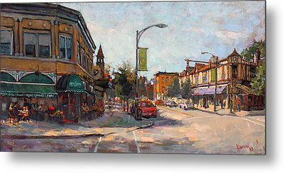 Caffe' Aroma In Elmwood Ave Metal Print by Ylli Haruni