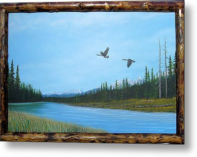Canadian Geese On The Kootenay Metal Print by William Flexhaugh