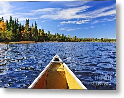 Canoe Bow On Lake Metal Print by Elena Elisseeva