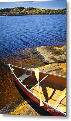 Canoe On Shore Metal Print by Elena Elisseeva
