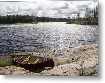 Canoe Pulled Up On The Shore Metal Print by Skip Brown