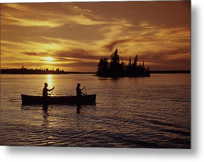 Canoeing At Sunset, Otter Falls Metal Print by Dave Reede