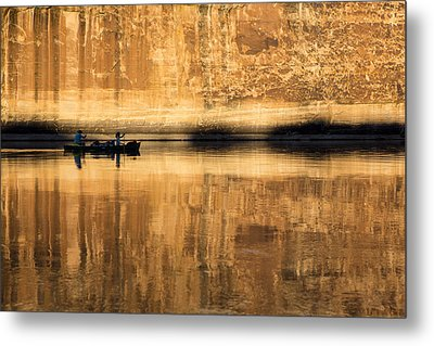 Canoeing In Golden Light Metal Print by Tim Grams