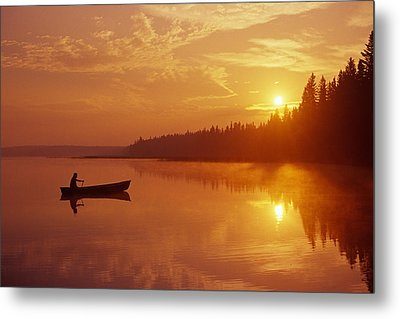 Canoeing On Childs Lake At Sunrise Metal Print by Mike Grandmailson