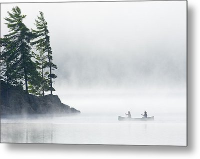 Canoeing Through Fog On Lake Of Two Metal Print by Mike Grandmailson