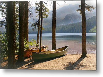 Canoes At The Ready Metal Print by Marty Koch