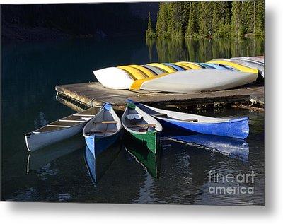 Canoes Morraine Lake 2 Metal Print by Bob Christopher
