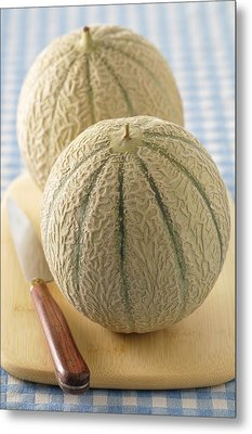 Cantaloupes On Cutting Board Metal Print by Jean-Christophe Riou