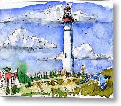 Cape May Lighthouse Study Metal Print by John D Benson