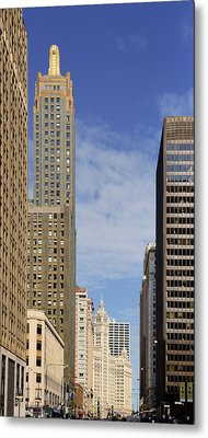 Carbide And Carbon And Wrigley Building - Two Chicago Classics Metal Print by Christine Till