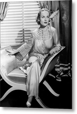 Carole Lombard, Sitting, In A 1930s Metal Print by Everett