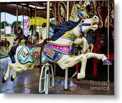 Carousel - Horse - Jumping Metal Print by Paul Ward