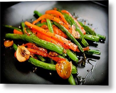 Carrot And Green Beans Stir Fry Metal Print by Iris Filson
