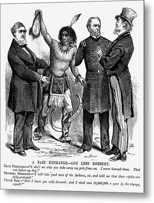 Cartoon: Native Americans, 1876 Metal Print by Granger