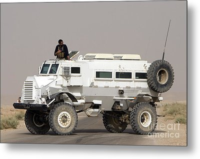 Casper Armored Vehicle Blocks The Road Metal Print by Terry Moore