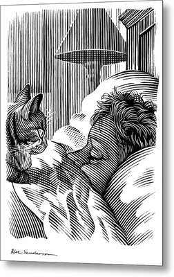 Cat Watching Sleeping Man, Artwork Metal Print by Bill Sanderson