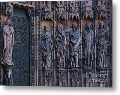Cathedral In Strasbourg Details Metal Print by Bob Christopher