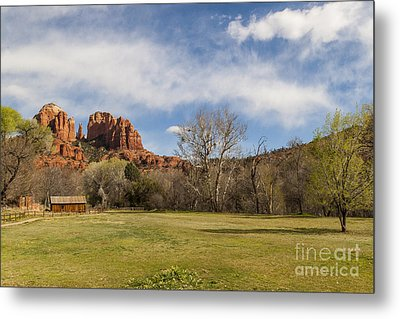 Cathedral Rock From The Park Metal Print by Darcy Michaelchuk