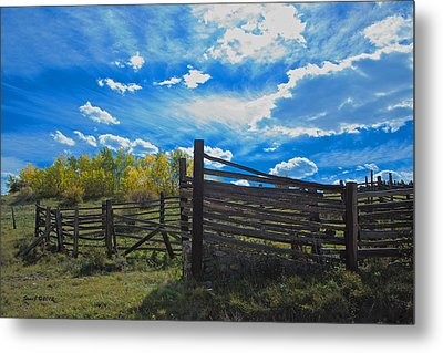 Cattle Chute And Corral Metal Print by Stephen  Johnson