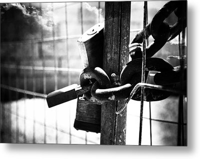 Chained Gate Metal Print by Phill Petrovic