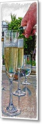 Champagne At The Beach Metal Print by Joan  Minchak