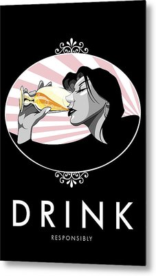 Champagne Drinking Woman Propaganda Style Metal Print by Jay Reed