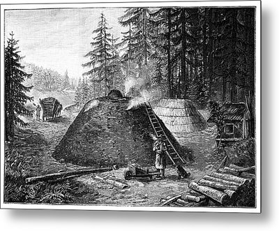 Charcoal Production, 19th Century Metal Print by