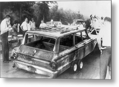 Charred Remains Of Station Wagon Driven Metal Print by Everett