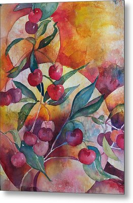 Cherries In The Sun Metal Print by Sandy Collier