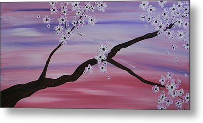 Cherry Blossoms At Sunrise Metal Print by Heather  Hubb