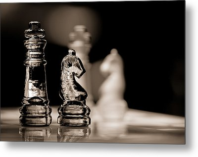 Chess King And Knight Metal Print by Lori Coleman