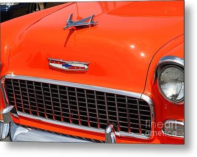 Chevrolet Bel-air Stationwagon . Orange . 7d15269 Metal Print by Wingsdomain Art and Photography