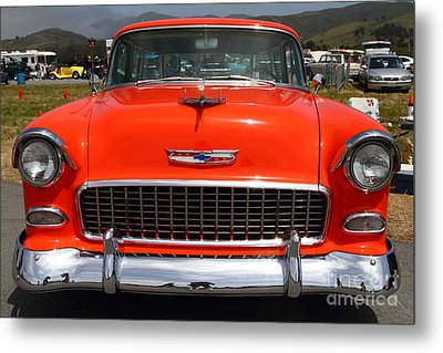 Chevrolet Bel-air Stationwagon . Orange . 7d15270 Metal Print by Wingsdomain Art and Photography