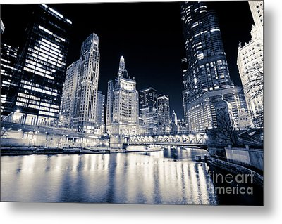Chicago At Night At Michigan Avenue Bridge Metal Print by Paul Velgos