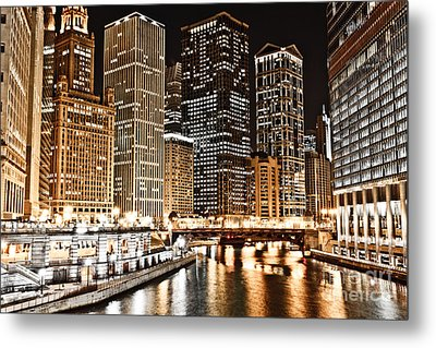 Chicago City Skyline At Night Metal Print by Paul Velgos