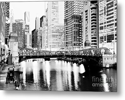 Chicago Downtown At Clark Street Bridge Metal Print by Paul Velgos