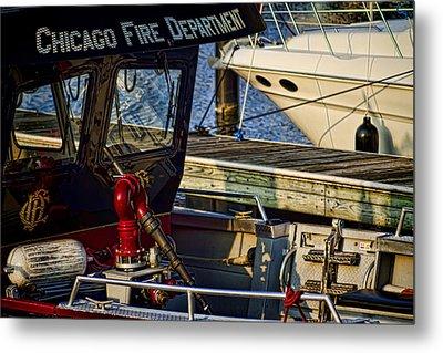 Chicago Fire Department Boat  Metal Print by Sven Brogren