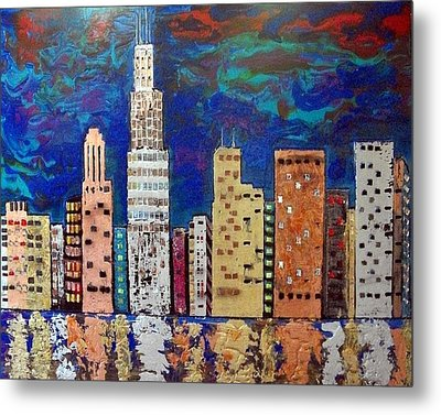 Chicago Metallic Skyline Reflections Metal Print by Char Swift