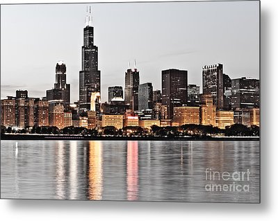 Chicago Skyline At Dusk Photo Metal Print by Paul Velgos