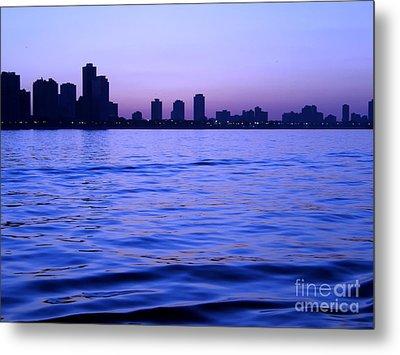 Chicago Skyline At Night Metal Print by Sophie Vigneault