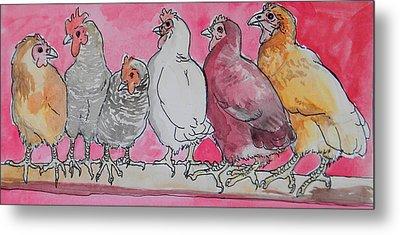 Chickens Metal Print by Jenn Cunningham