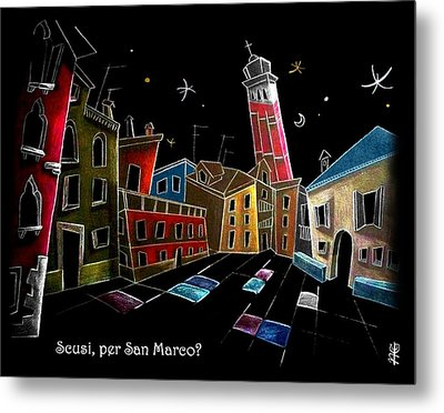Children Book Illustration Venice Italy - Libri Illustrati Per Bambini Venezia Italia Metal Print by Arte Venezia