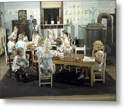 Children Play In A Day Nursery Metal Print by J. Baylor Roberts